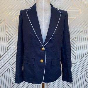 J. Crew Rhodes blazer in Tipped Linen in Navy Blue